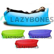 image of Lazy Bones Blue Portable Air Sofa / Chair For Parks, Gardens, Festivals & Camping