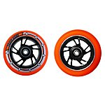 image of Team Dogz 100mm Alloy Swirl Scooter Wheels - Black Core Orange PU