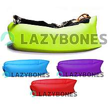image of Lazy Bones Green Portable Air Sofa / Chair For Parks, Gardens, Festivals & Camping