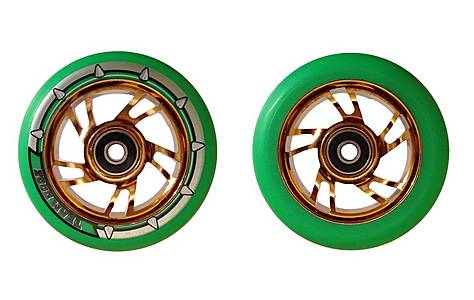 image of Team Dogz 100mm Alloy Swirl Scooter Wheels - Gold Core Green PU