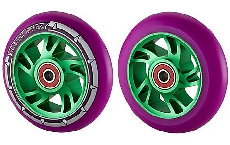 image of Team Dogz 100mm Alloy Swirl Scooter Wheels - Green Core Purple PU