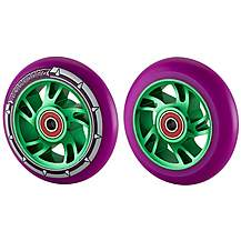 image of Team Dogz 100mm Alloy Swirl Scooter Wheels - Green Core Purple PU