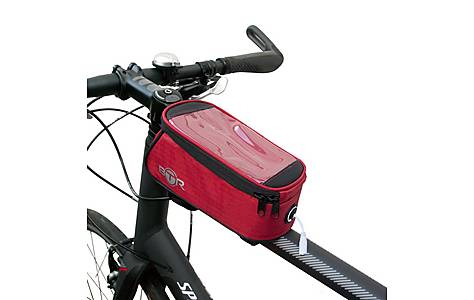 image of BTR Bike Frame Bag With Mobile Phone Pocket. Water Resistant. Red