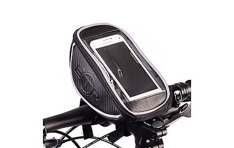 image of BTR Handlebar Bike Bag with Mobile Phone Holder with Clear PVC Screen. Water Resistant. Black