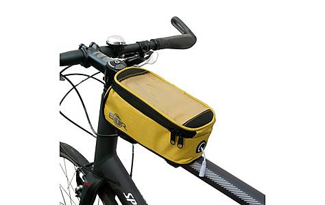 image of BTR Bike Frame Bag With Mobile Phone Pocket. Water Resistant. Yellow