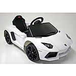 image of Kids Electric Car Lamborghini Aventador 6 Volt White Gloss
