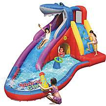 image of Water Slide Bouncy Castle - Sharks Club Inflatable - 15ft