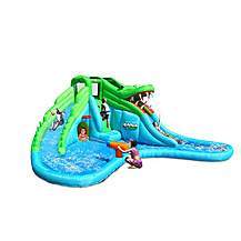 image of Crocodile Bouncy Castle With Water Slide And Paddling Pool