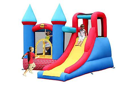 image of Red Brick Turret Bouncy Castle With Slide