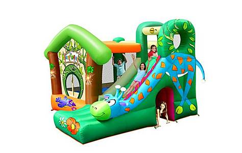 image of Jungle Fun Bouncy Castle With Giraffe Slide