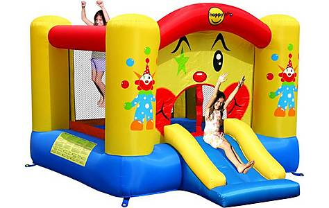 image of Clown Bouncy Castle With Slide And Basketball Hoop