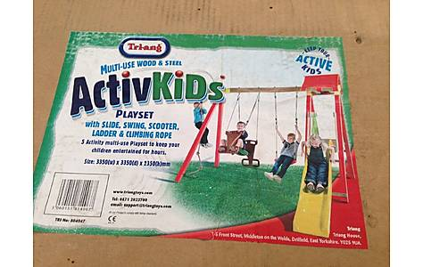 image of Metal Swing Set With Slide And See-saw