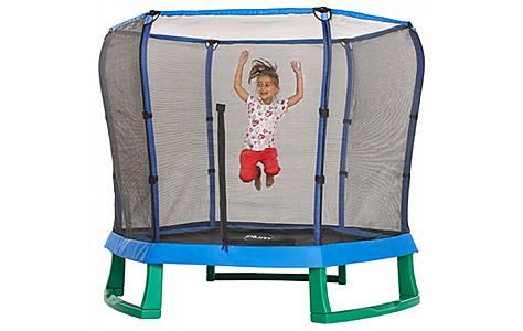 image of Plum 7ft Junior Jumper Trampoline And Enclosure - Blue & Green