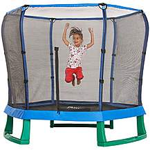 image of Plum 7ft Junior Jumper Trampoline And Enclosure - Blue & Green