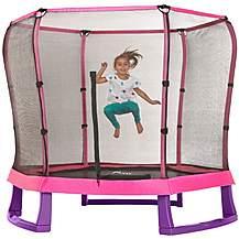 image of Plum 7ft Junior Jumper Trampoline And Enclosure - Pink & Purple