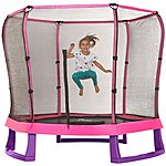 image of Plum 7ft Junior Jumper Trampoline And Enclosure - Pink & Purple