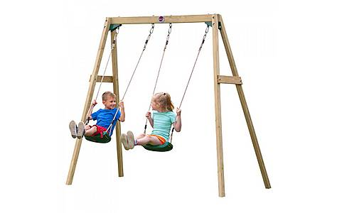 image of Plum Wooden Double Swing Set