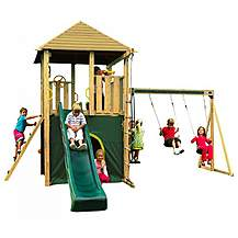 image of Plum Warthog Wooden Climbing Frame Outdoor Play Centre With Double Swing, Play Tower, Slide And Play Den