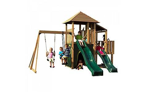 image of Plum Bison Wooden Climbing Frame Outdoor Play Centre
