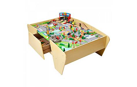 image of Plum Train And Track Wooden Activity Table With Accessories