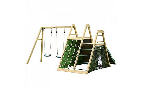 image of Plum Climbing Pyramid Wooden Climbing Frame With Swings