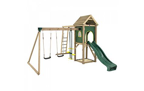 image of Plum Kudu Wooden Climbing Frame Outdoor Play Centre With Double Swing, Slide, Sand Pit And Monkey Bars