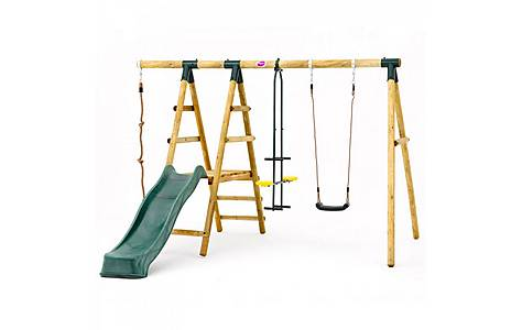 image of Plum Meerkat Wooden Garden Swing Set And Climbing Frame