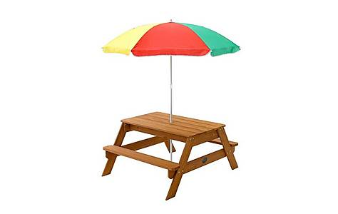 image of Plum Rectangular Garden Picnic Table With Parasol