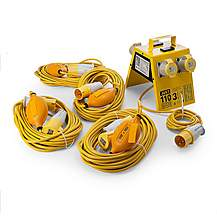 image of Just 110 Site Kit 4 Extension Leads x 4 - 1.5mm x 14m + 4 Way Junction Box With USB Ports 110V