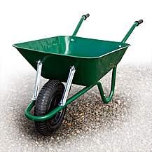 image of Barrow-in-a-Box BEASGP Heavy Duty Builders Wheelbarrow Easi-Load Pneumatic Tyre Green 85 Litre