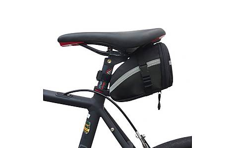 image of BTR Bike Saddle Wedge Pack Storage Bag With 3M Reflective Strip. Water Resistant. Black, Silver
