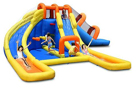 image of 24ft X 21ft Kids Inflatable Mini Water Park With Double Waterslides