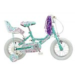 image of Concept Princess Kids Girls Pink 12inch Wheel Stabiliser Bike Dolly Seat Blue