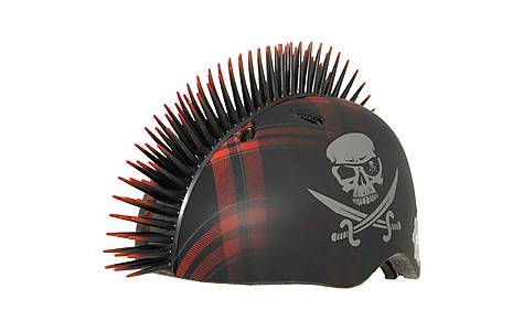 image of Krash Plaid Jolly Roger Mohawk Raskullz Pirate Child's Helmet 7+ Safety