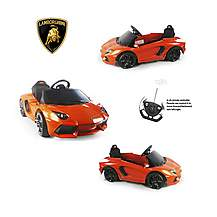 image of Licensed Aventador 6v Electric Battery Powered Ride On Car - Orange