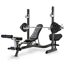 image of Tunturi Pure Olympic Folding Weight Bench With Rack And 140kg Weight Set