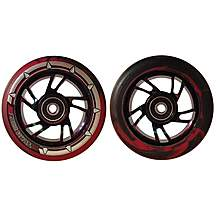 image of Team Dogz 100mm Stunt Scooter Chrome Alloy Wheels Nebula Rainbow Red Black Pu