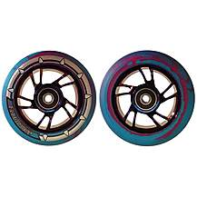 image of Team Dogz 100mm Stunt Scooter Chrome Purple Alloy Wheels Blue Purple Pu