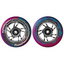 image of Team Dogz 100mm Stunt Scooter Chrome Silver Alloy Wheels Blue Purple Pu