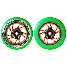 image of Team Dogz 100mm Stunt Scooter Chrome Gold Alloy Wheels Neon Green Pu