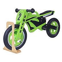 image of Kwaka Wooden Motorbike Balance Bike 2017 Design With Stand