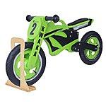image of Kwaka Wooden Motorbike Balance Bike 2017 Design With Stand