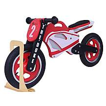 image of Duke Wooden Motorbike Balance Bike 2017 Design With Stand
