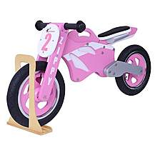 image of Zippy Wooden Motorbike Balance Bike 2017 Design With Stand