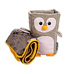 image of Kids Travel Pillow & Blanket Set, Armrest Buddy, Penguin