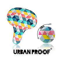 image of Urban Proof Bike Accessory Set, Saddle & Retro Bell, Colour Triangles