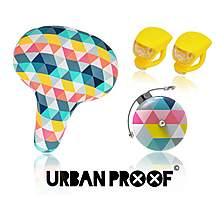 image of Urban Proof Bike Accessory Set, Saddle, Bell & Lights, Colour Triangles