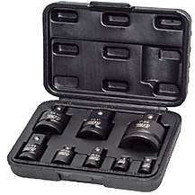 image of Autojack Heavy Duty 8pc Impact Wrench Socket Adaptor Converter Reducer Set Case