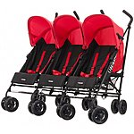 image of Obaby Mercury Triple Stroller Black/red