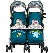 image of Obaby Twin Stroller With Footmuff Monsters Inc.